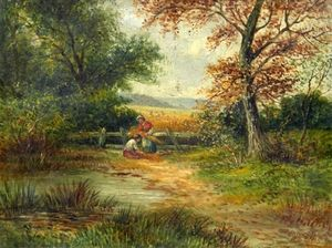Ellis William Roberts - Young Maids Gathering Corn In A Wooded Landscape