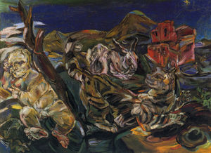 Oskar Kokoschka - Nature morte avec chat, putto et lapin, Still life with cat, putto and rabbit,