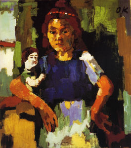 Oskar Kokoschka - Fillette à la poupée, Young girl with the headstock , Huile sur Toile,