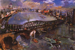 Oskar Kokoschka - Londres, pont de Waterloo, London, Waterloo's Bridge, Huile sur Toile,