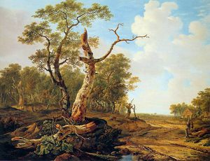 Abraham Van Strij - Landscape with dead tree Sun
