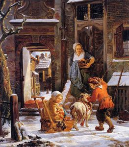 Abraham Van Strij - Winter city view with children Sun