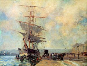 Albert-Charles Lebourg (Albert-Marie Lebourg) - Ship in harbour Rouen Sun