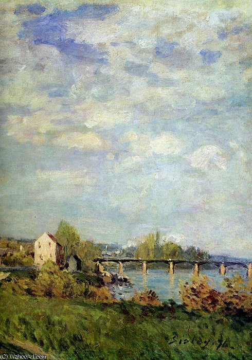 Brink of the Seine at Bougival Sun by Alfred Sisley (1839-1899, France)