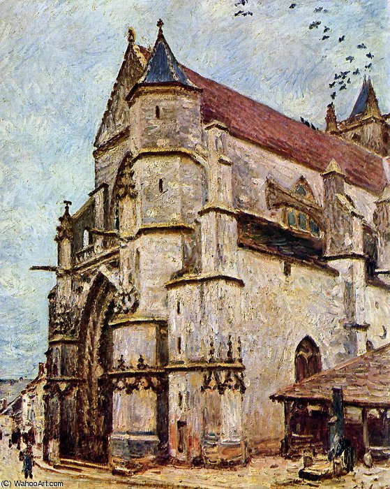 Church of Moret in the afternoon Sun by Alfred Sisley (1839-1899, France) | Museum Quality Reproductions | WahooArt.com