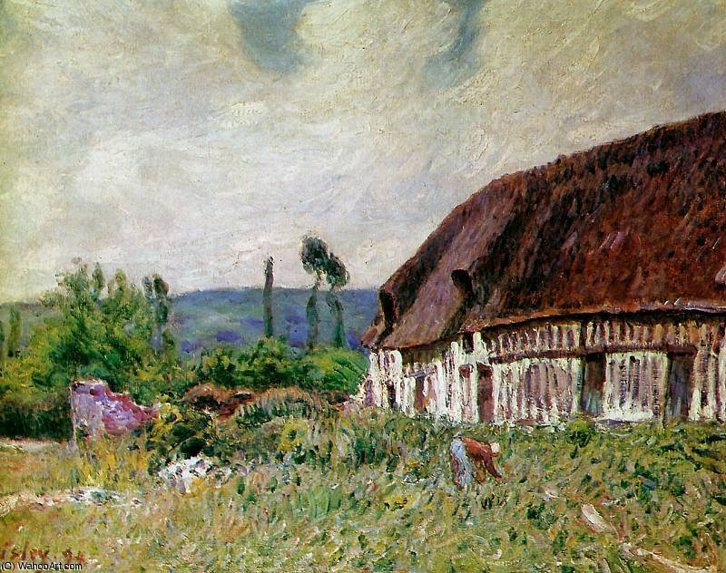 Farmhouse in Normandie Sun by Alfred Sisley (1839-1899, France)