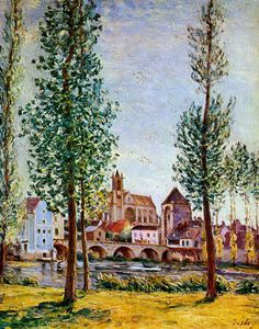 Alfred Sisley - Moret sur Loing Bridge church and mill Sun