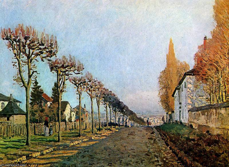Rue de S_vres Louveciennes Sun by Alfred Sisley (1839-1899, France) | Famous Paintings Reproductions | WahooArt.com