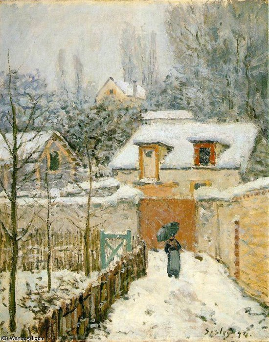 Snow at Louveciennes - -, 1874 by Alfred Sisley (1839-1899, France) | WahooArt.com