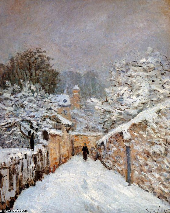Snow in Louveciennes Sun by Alfred Sisley (1839-1899, France) | Oil Painting | WahooArt.com