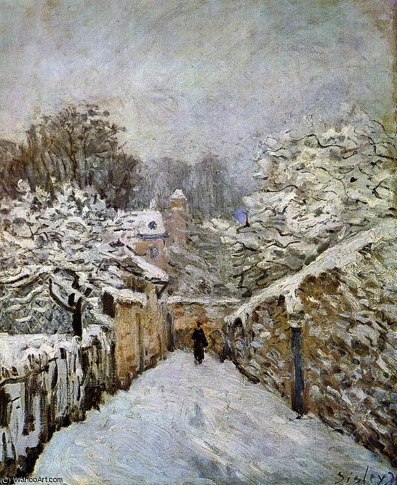 Snow in Louveciennes by Alfred Sisley (1839-1899, France)