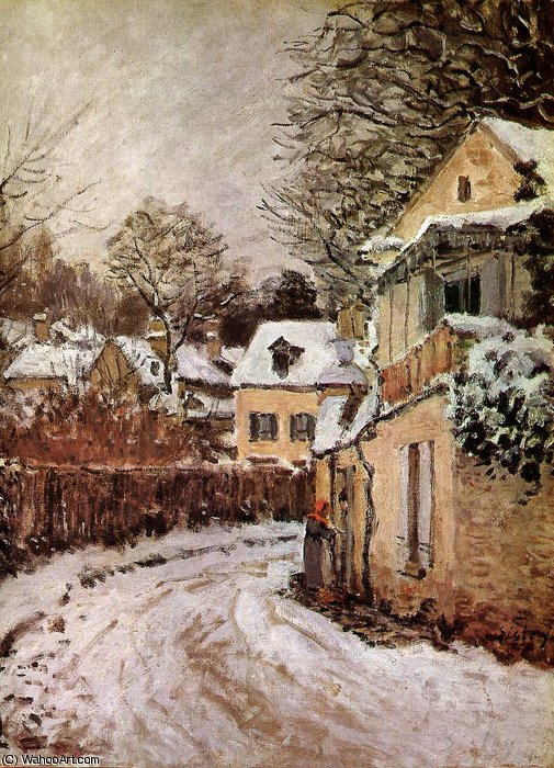 Order Museum Quality Reproductions : Street in Louveciennes Sun by Alfred Sisley (1839-1899, France) | WahooArt.com