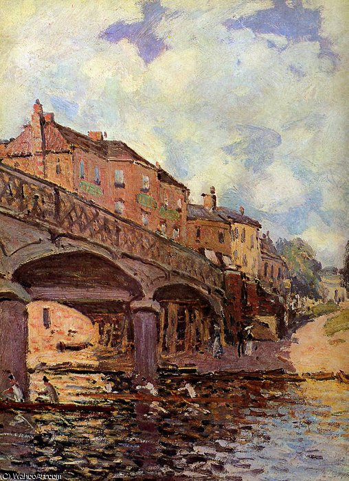 The bridge at Hampton Sun by Alfred Sisley (1839-1899, France) | Art Reproduction | WahooArt.com