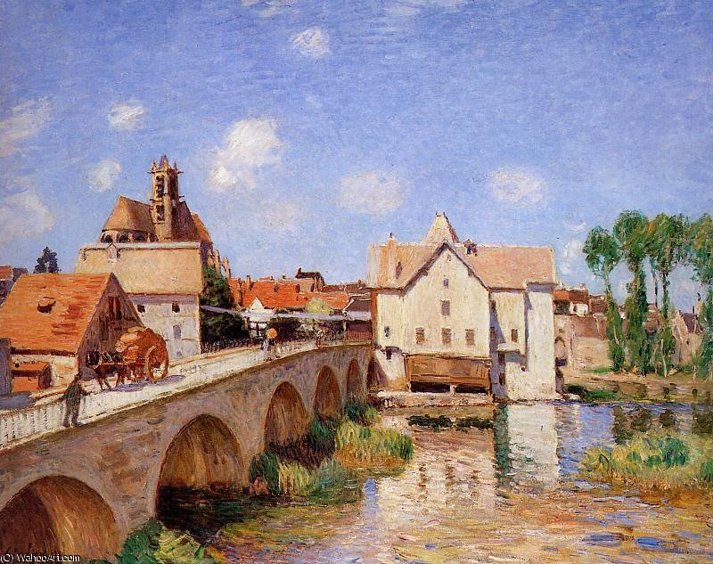 The bridge in Moret Sun by Alfred Sisley (1839-1899, France) | Painting Copy | WahooArt.com