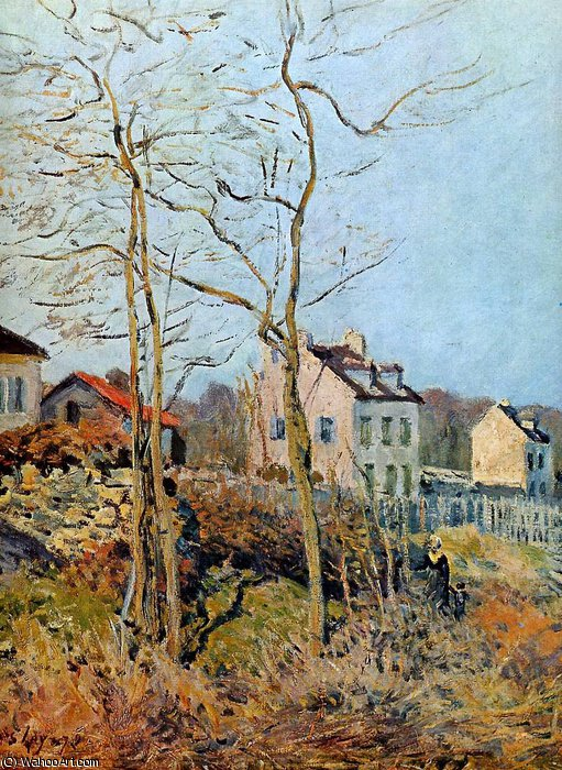 Village at the edge of the forest Sun by Alfred Sisley (1839-1899, France)