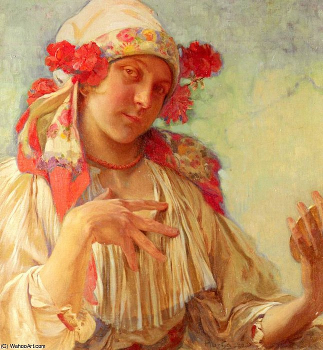 young girl in a moravian costume by Alfons Maria Mucha (1860-1939, Czech Republic) | Painting Copy | WahooArt.com