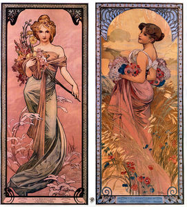 Alfons Maria Mucha - the seasons spring-summer