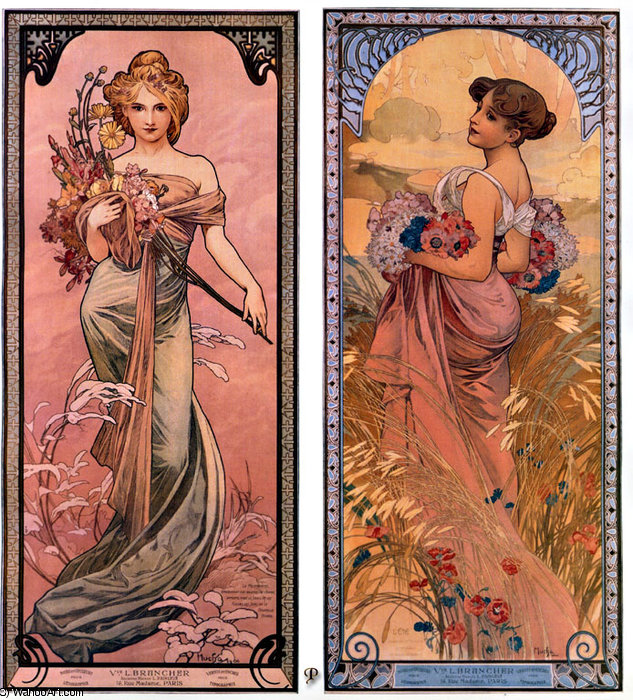 the seasons spring-summer, 1899 by Alfons Maria Mucha (1860-1939, Czech Republic) | Art Reproduction | WahooArt.com