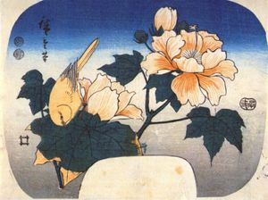 Ando Hiroshige - yellow bird and cotton rose