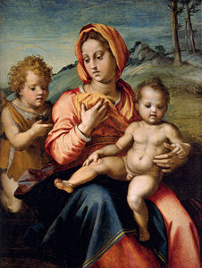 Andrea Del Sarto - madonna and child with the infant saint john in a landscape