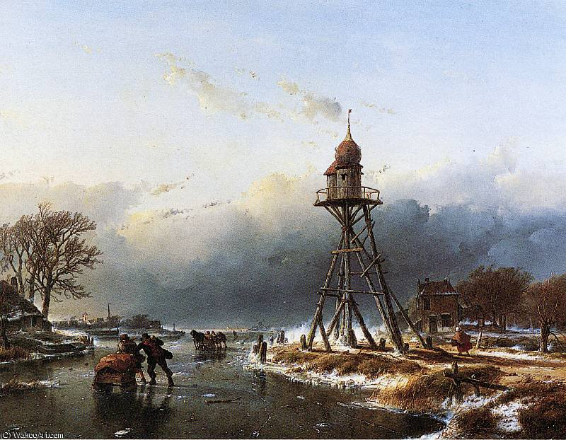 Beacon at Haarlemmermeer Sun by Andreas Schelfhout (1787-1870, Netherlands)