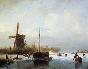 Andreas Schelfhout - Boat in frozen canal Sun