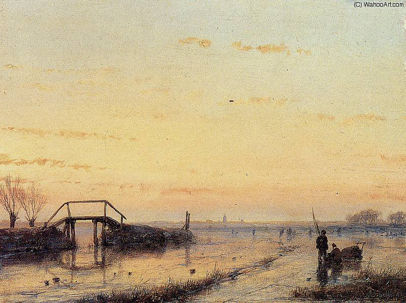 dusk sun by Andreas Schelfhout (1787-1870, Netherlands) | Art Reproduction | WahooArt.com