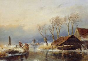 Andreas Schelfhout - Farmers with a sledge Sun