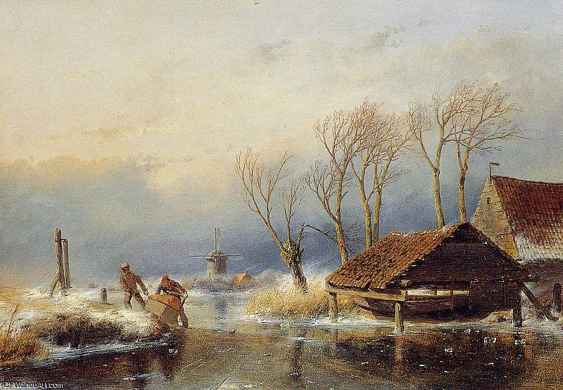 Farmers with a sledge Sun by Andreas Schelfhout (1787-1870, Netherlands)