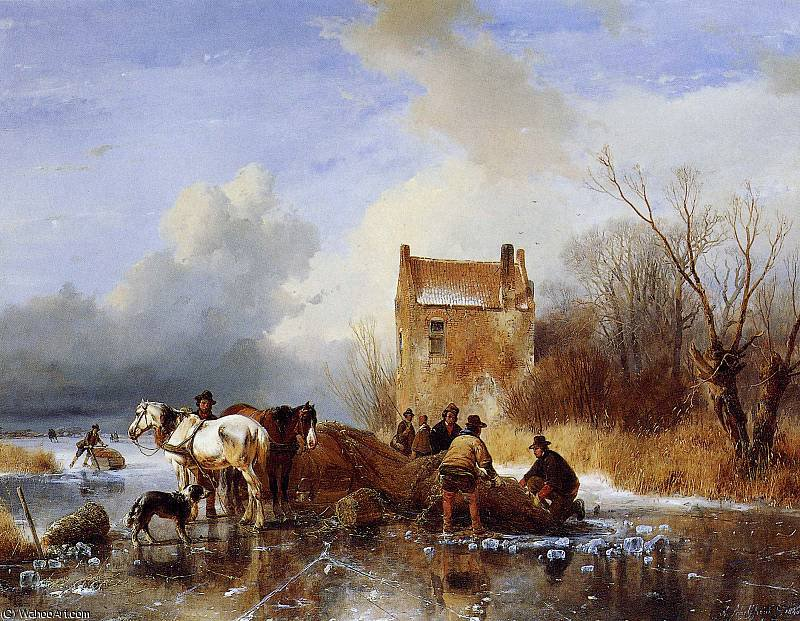 Fishermen on ice Sun by Andreas Schelfhout (1787-1870, Netherlands)