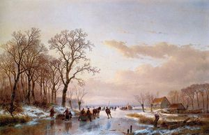 Andreas Schelfhout - Frozen canal near the Maas Sun