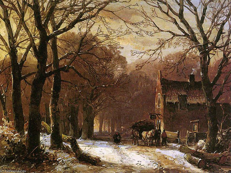 Horse and carriage at inn Sun by Andreas Schelfhout (1787-1870, Netherlands) | Painting Copy | WahooArt.com