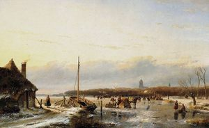 Andreas Schelfhout - Ice view with boat and farm Sun
