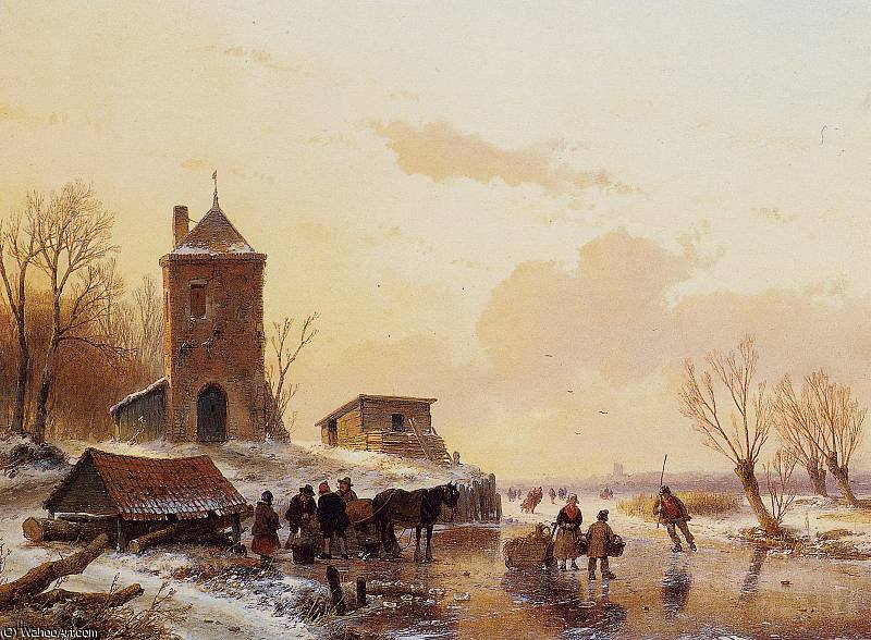 Loading the sledge Sun by Andreas Schelfhout (1787-1870, Netherlands)