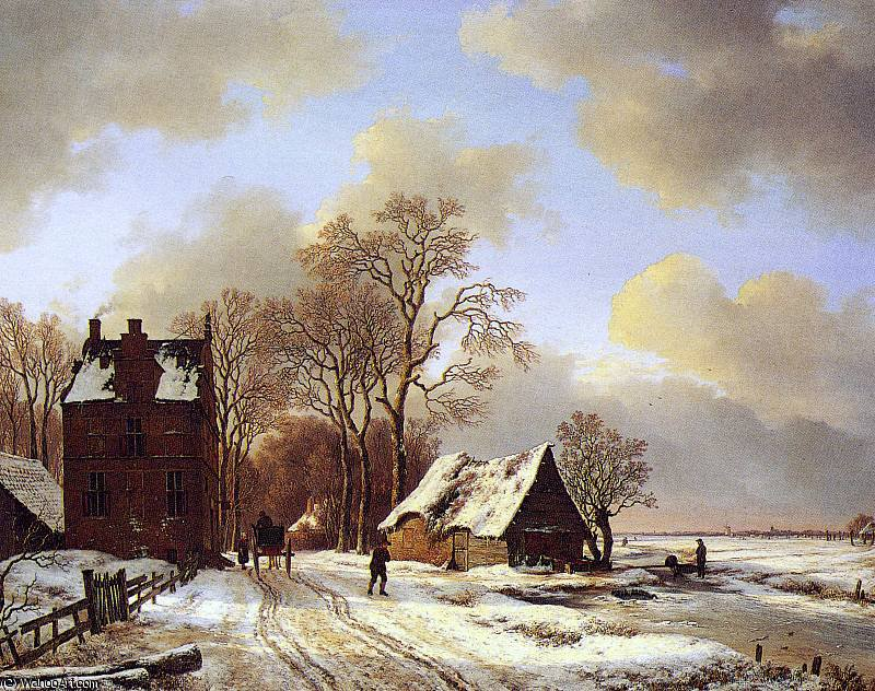 Order Reproductions | Man and horse at inn Sun by Andreas Schelfhout (1787-1870, Netherlands) | WahooArt.com