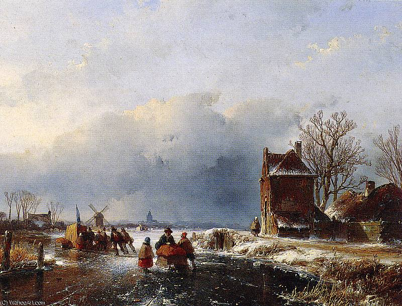 Merriment on ice 3 Sun by Andreas Schelfhout (1787-1870, Netherlands) | Paintings Reproductions Andreas Schelfhout | WahooArt.com