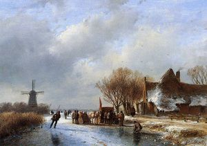 Andreas Schelfhout - Merriment on ice Sun