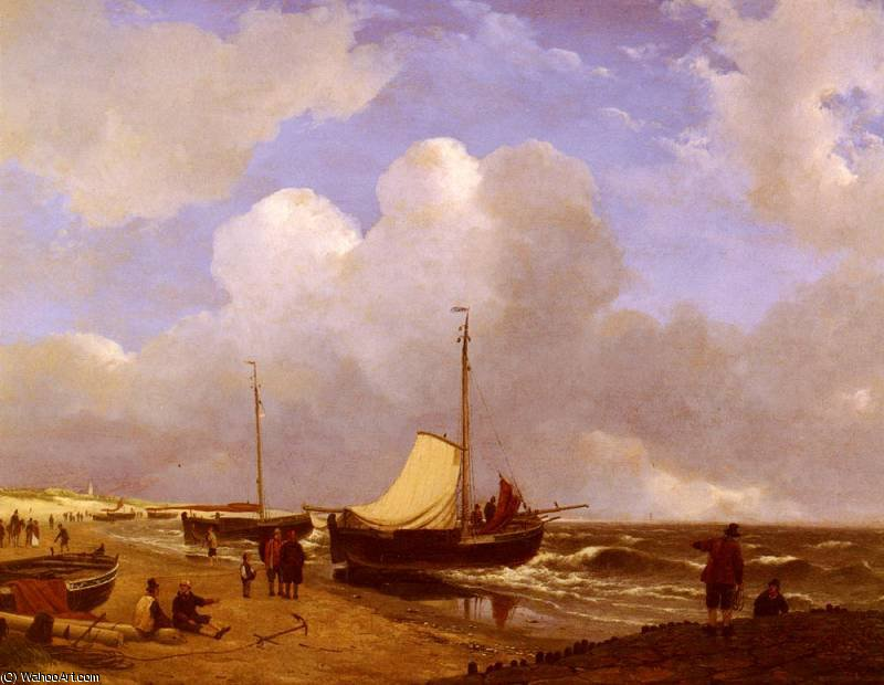 moored on the beach by Andreas Schelfhout (1787-1870, Netherlands)