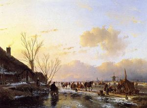 Andreas Schelfhout - People on frozen river Sun
