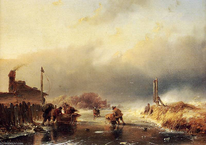 Poor weather Sun by Andreas Schelfhout (1787-1870, Netherlands) | Art Reproduction | WahooArt.com