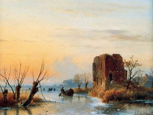 Andreas Schelfhout - Ruin in winter landscape Sun