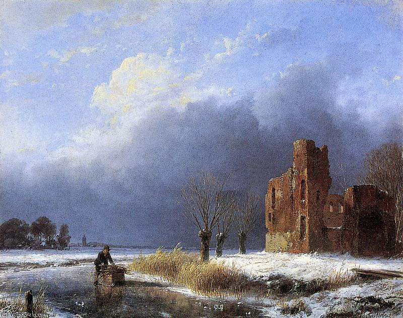 Scater near ruin Sun by Andreas Schelfhout (1787-1870, Netherlands)
