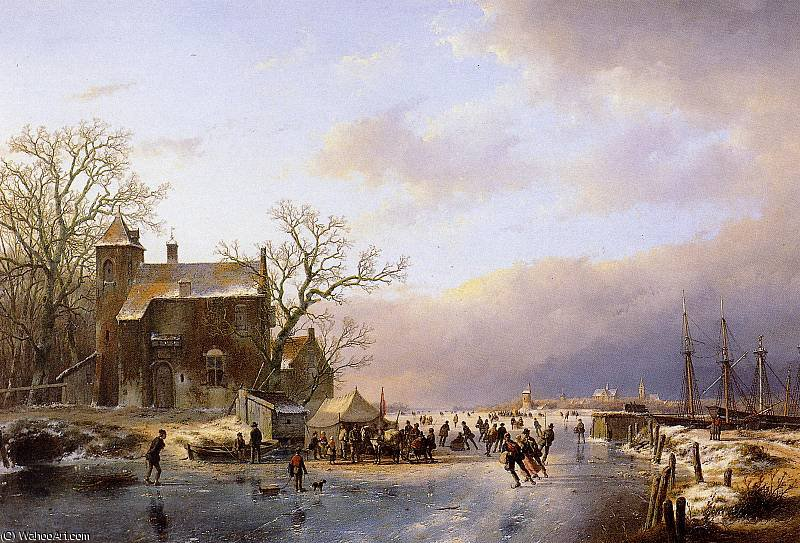 Scaters at Koek en Zopie Sun by Andreas Schelfhout (1787-1870, Netherlands) | WahooArt.com
