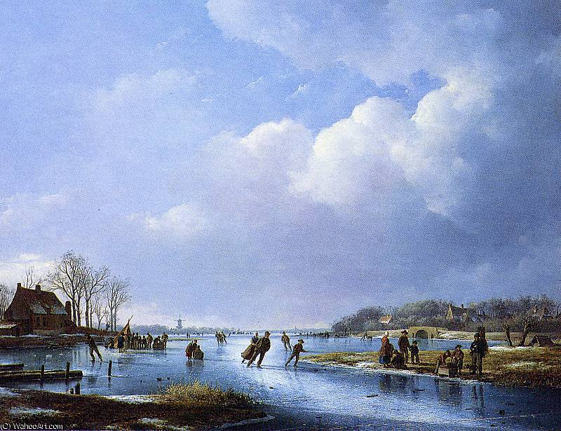 Scaters at Koek en Zopie Sun by Andreas Schelfhout (1787-1870, Netherlands) | Museum Quality Reproductions | WahooArt.com