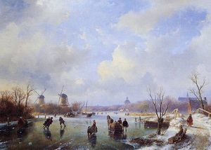 Andreas Schelfhout - Scaters on frozen river with mill Sun