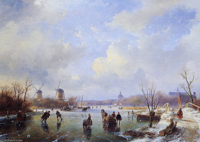 Scaters on frozen river with mill Sun by Andreas Schelfhout (1787-1870, Netherlands)