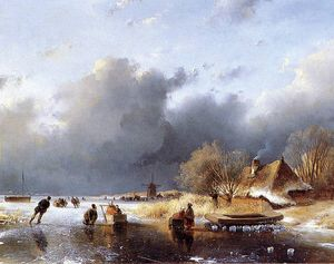 Andreas Schelfhout - Scaters on river near farm Sun