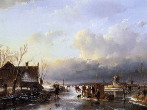 Andreas Schelfhout - Scaters on river near saw mill Sun