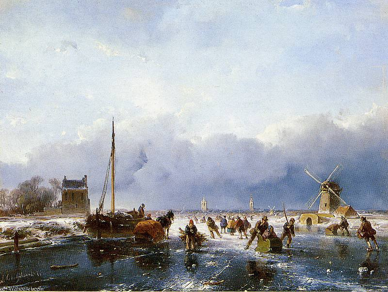 Scaters on river Sun by Andreas Schelfhout (1787-1870, Netherlands)