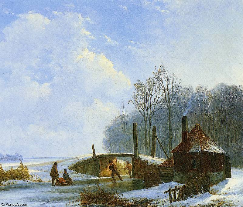 Order Painting Copy : scaters sun by Andreas Schelfhout (1787-1870, Netherlands) | WahooArt.com